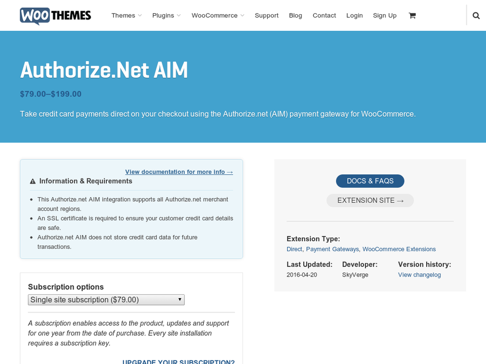 WooCommerce Authorize.net AIM Gateway