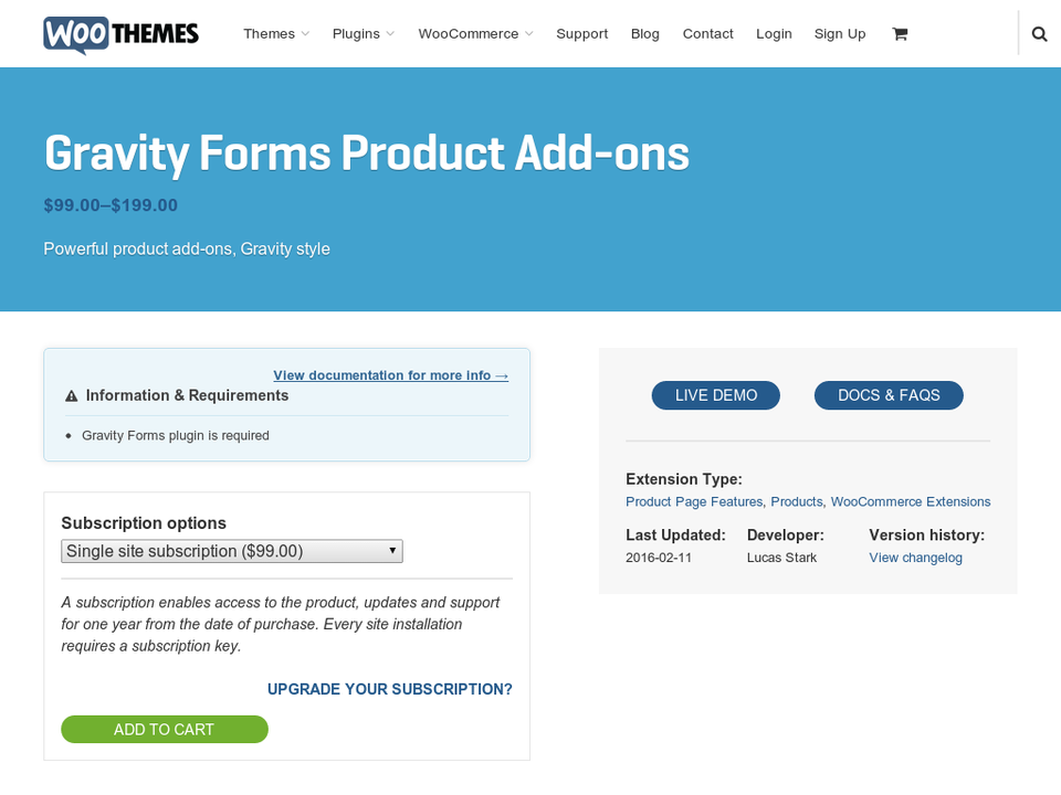 WooCommerce – Gravity Forms Product Add-Ons